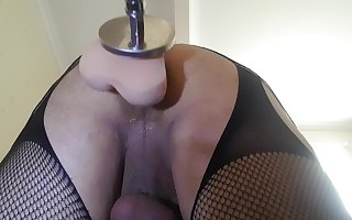Machine fucked by 'The German' dildo, 9 inches long, 7 inch girth & solid